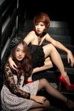 Retrato de muchachas asiáticas en oscuro Imágenes de archivo libres de regalías
