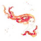 Retrato de mujeres hermosas con el pelo largo stock de ilustración