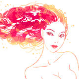 Retrato de mujeres hermosas con el pelo largo Fotografía de archivo libre de regalías
