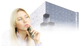Retrato de mulheres de negócio bonitas com telefone imagens de stock royalty free
