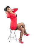 Retrato de mulheres luxuosas no vestido vermelho fotografia de stock royalty free