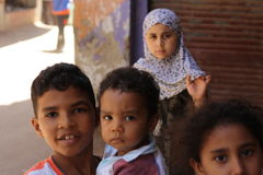 Retrato de niños egipcios en acontecimiento chairty en Giza Foto de archivo libre de regalías