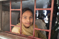 Retrato de niños en un tren Foto de archivo