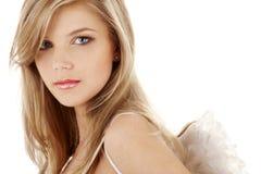 Retrato de olhos azuis triste do anjo Fotografia de Stock Royalty Free