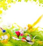 Retrato de ovos decorativos no ninho Foto de Stock Royalty Free