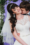 Retrato de pares bonitos Vestido de casamento Acessórios do casamento Imagem de Stock Royalty Free
