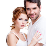 Retrato de pares felizes atrativos bonitos Foto de Stock Royalty Free