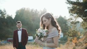 Retrato de pares felizes do casamento na natureza A noiva que aspira flores vídeos de arquivo
