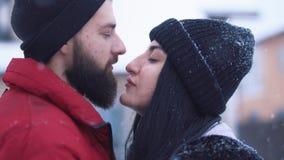Retrato de pares lindos en el amor que se coloca en patio trasero del invierno Pares felices que miran lejos, novio de los abrazo metrajes