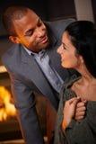 Retrato de pares misturados românticos imagens de stock royalty free