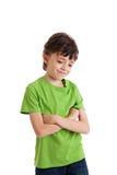 Retrato de pensamiento del muchacho lindo aislado en blanco Imagenes de archivo