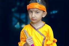 Retrato de pequeño señor Krishna Kanhaiya Boy Child fotografía de archivo libre de regalías