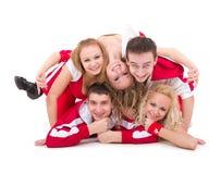 Retrato de personas felices del salto de la cadera Fotografía de archivo