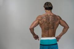 Retrato de poses fisicamente cabidas de uma parte traseira do homem Fotos de Stock