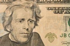 Retrato de presidente Andrew Jackson en el billete de dólar 20 U cercano imágenes de archivo libres de regalías