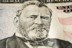 Retrato de presidente Ulysses Grant de los E.E.U.U. en la macro extrema de cincuenta billetes de dólar, 50 usd fotografía de archivo libre de regalías