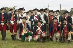 Retrato de re-enactors revolucionario del francés y del patriota como parte del 225o aniversario del cerco de Yorktown, Virginia, imagenes de archivo