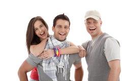 Retrato de rir amigos felizes imagens de stock royalty free