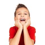 Retrato de rir o menino feliz foto de stock royalty free