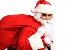 Retrato de Santa Claus com saco enorme Imagem de Stock Royalty Free