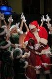 Retrato de Santa Girls feliz y de Papá Noel Fotos de archivo libres de regalías