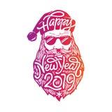 Retrato de Santa má com óculos de sol e barba Rotulando o ano novo feliz 2019 no formulário da barba Santa Mão desenhada ilustração do vetor