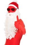 Retrato de Santa na roupa do látex com polegares acima Fotografia de Stock