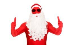 Retrato de Santa na roupa do látex com polegares acima Fotografia de Stock Royalty Free