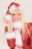 Retrato de señora atractiva Papá Noel imagen de archivo