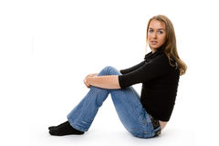 Retrato de sentarse rubio Imagen de archivo libre de regalías