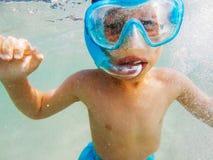 Retrato de Snorkeler subaquático Fotos de Stock Royalty Free