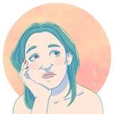 Retrato de soñar a la chica joven con la mano en su cara Fotos de archivo