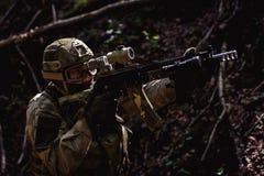 Retrato de soldados en campo de batalla Imagen de archivo libre de regalías