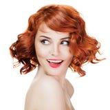 Retrato de sorriso bonito da mulher isolado Foto de Stock