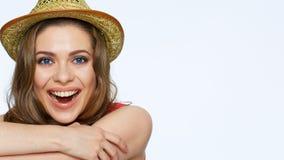 Retrato de sorriso feliz da cara da mulher Sorriso com dentes Foto de Stock Royalty Free