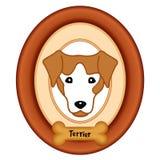 Retrato de Terrier, marco de madera, invitación del hueso de perro Imagen de archivo
