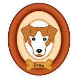 Retrato de Terrier, quadro de madeira, deleite do osso de cão Imagem de Stock