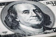 Retrato de tiros do close-up de Benjamin Franklin na lente macro de Imagem de Stock
