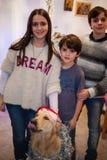 Retrato de três irmãos com seu cão no Natal Fotos de Stock