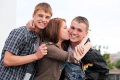 Retrato de tres adolescentes jovenes Foto de archivo