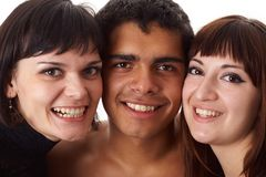 Retrato de tres amigos felices Imagenes de archivo