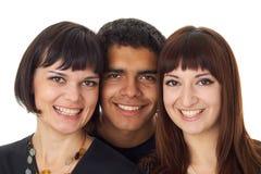 Retrato de tres amigos felices Imágenes de archivo libres de regalías