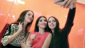 Retrato de tres amigos femeninos atractivos que presentan para hacer una foto metrajes
