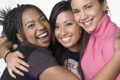 Retrato de tres muchachas adolescentes de la raza mezclada Foto de archivo libre de regalías