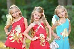 Retrato de tres niñas Foto de archivo