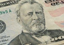 Retrato de Ulysses S Grant enfrenta em dólares do macro da conta dos E.U. cinqüênta ou 50 Fotografia de Stock Royalty Free