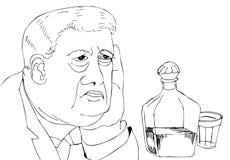 Retrato de um alcoólico Retrato de um homem com vodca imagens de stock