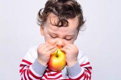 Retrato de um bebê bonito que come uma maçã Foto de Stock Royalty Free