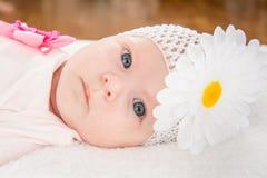 Retrato de um bebê com uma atadura em sua cabeça e em uma flor Fotos de Stock Royalty Free