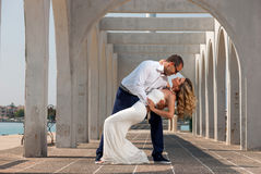 Retrato de um beijo dos noivos foto de stock